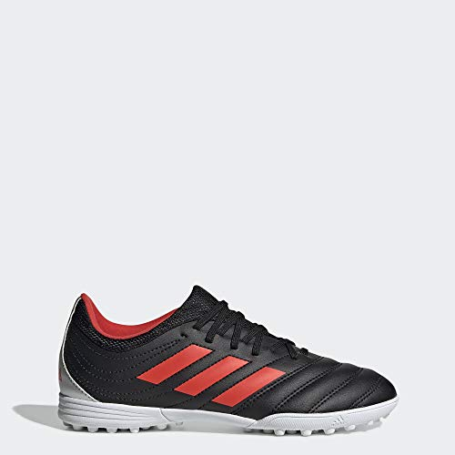 adidas Unisex Copa 19.3 Turf Soccer Shoe, Black/hi-res red/Silver Metallic, 5 M US Big Kid