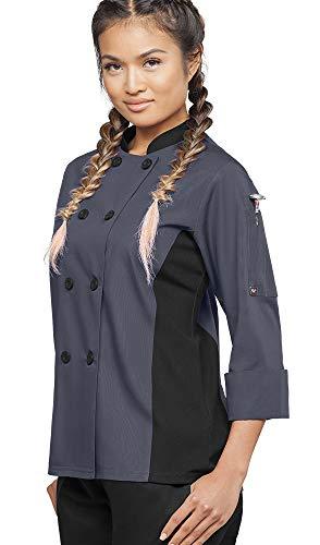 Womens 3/4 Sleeve Chef Coat Mesh Side Panels  (X-Large, Granite/Black)