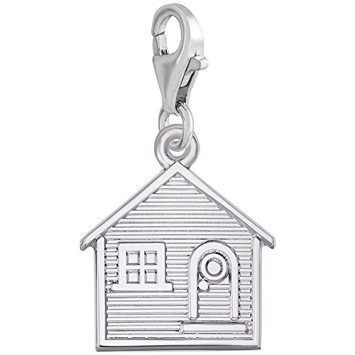Sterling Silver House Charm With Lobster Claw Clasp, Charms for Bracelets and Necklaces (Charm Silver House Sterling)