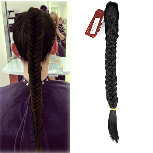 (Hair Long Straight Ponytail Clip in Braided Ponytail Fishtail Plaited Synthetic Hair Extensions Hairpiece Dark Black)