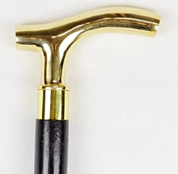 Polished Solid Brass Derby Handle Cane Wood Walking Stick