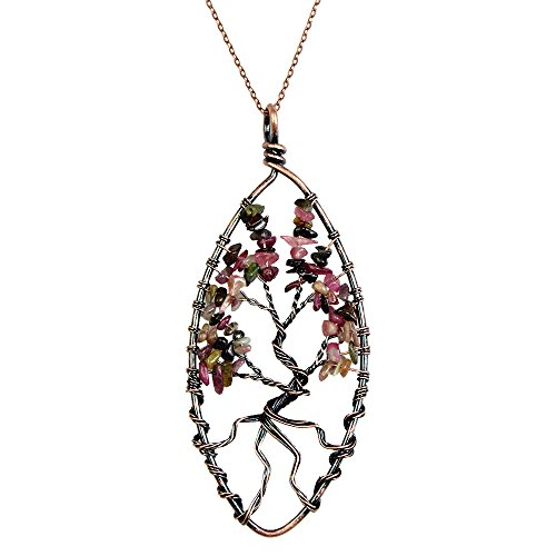 BAYUEBA Tree of Life Pendant Amethyst Peridot Necklace Chakra Tourmaline