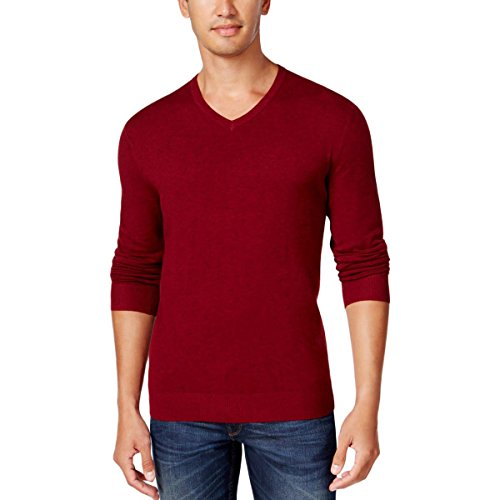 Alfani Mens Regular Fit V-Neck Pullover Sweater Red - Alfani Red Sweater