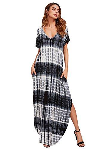MAKEMECHIC Casual Maxi Short Sleeve Split Tie Dye Long Dress #Black and White M