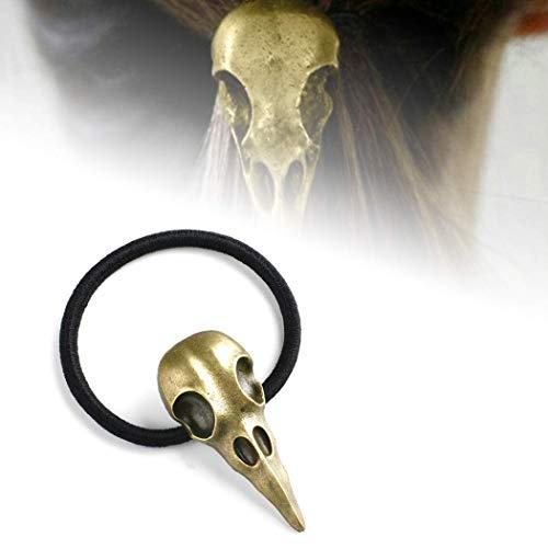 Hometu Halloween Bird Skull Hair Band Stylish Plague Doctor Crow Raven Punk Elastic Hair Accessories Bronze 1PC