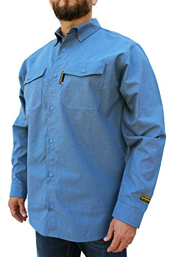 Benchmark FR Silver Bullet, 5.1 oz Ultra Lightweight FR Shirt, NPFA 2112 & CAT 2, Moisture Wicking, Men's FRC with 9 Cal rating, Made in USA, Advanced FR Materials, Light Blue, L Tall by Benchmark FR (Image #3)