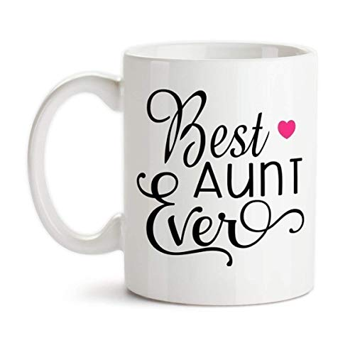 Best Aunt Ever Ceramic Coffee Mug Heart Design