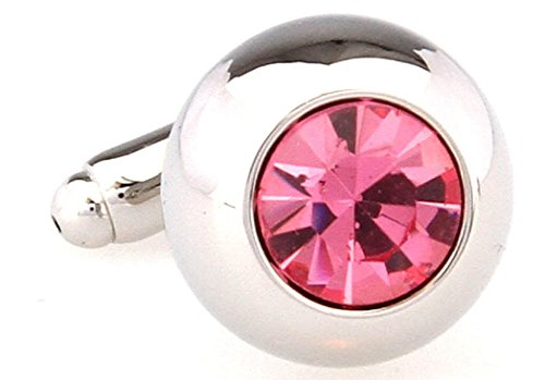 MRCUFF Pink Crystal Round Pair Cufflinks in a Presentation Gift Box & Polishing ()