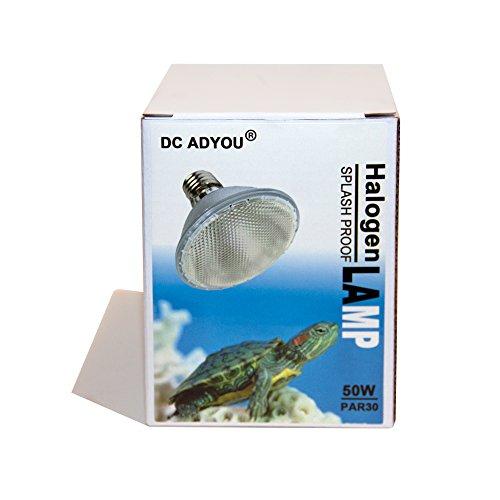 DC ADYOU Turtle Heat Lamp Bulb Splash Proof Halogen Light Bulbs for Aquariums and Chameleon (50W-par30)
