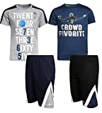 Hind Boys 4-Piece Matching Performance Athletic Shirt and Short Sets, Navy/Heather Grey, Size 12'