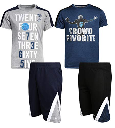 Hind Boys 4-Piece Matching Performance Athletic Shirt and Short Sets, Navy/Heather Grey, Size ()