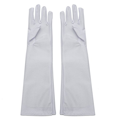 TOPMO 4 Pairs White Girls Tea Party Stretch Polyester Long Dress Gloves Girls Princess Costume Gloves For Party Stage Show by TOPMO
