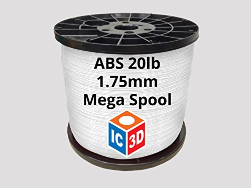 IC3D White 1.75mm ABS 3D Printer Filament Mega Spool (20lbs) - Dimensional Accuracy +/- 0.05mm - Professional Grade 3D Printing Filament - MADE IN USA by IC3D