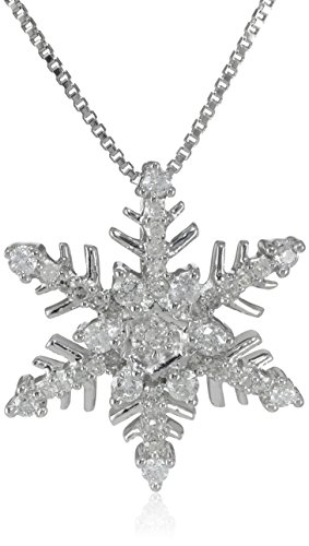 Sterling Silver Diamond Snowflake Pendant Necklace (1/4 cttw, H-I Color, I2-I3 Clarity), 18""