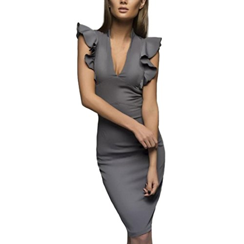 Pervobs Dress Clearance! Women Summer Solid Butterfly Sleeve V-Neck Slim Casual Working Sleeveless Pencil Dress (XXL, Gray)