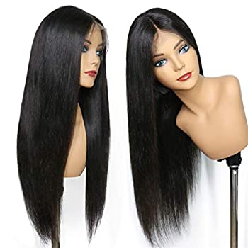 Image of Health and Household Amesha Hair Brazilian Lace Front Human Hair Wigs For Women Remy Hair Straight Human Hair Wig With Baby Hair Natural Hairline Black Color 18 Inch