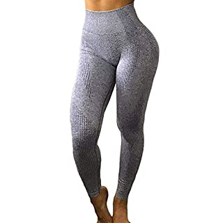 Yaavii Seamless Workout Leggings for Women High Waisted Butt Lifting Gym Yoga Pants Tummy Control Sports Tight Activewear Grey