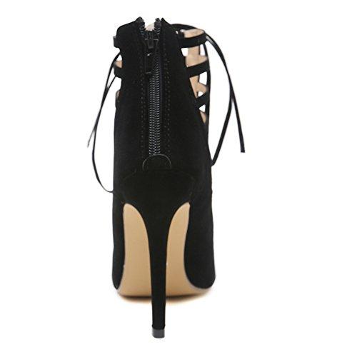 Black Tobillo Flejes Fiesta Plataforma Zapatos Exquisitos Stiletto KJJDE Baile Sandalias Mujer Sexy Correa Tacón Hueco GZSL 86 333 Alta 7yBq0zwU