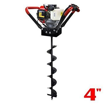 XtremepowerUS 1-Person Post Hole Digger V-Type 55CC 2 Stroke Gas One Man Auger EPA Motor Digger + 4' Bit Set