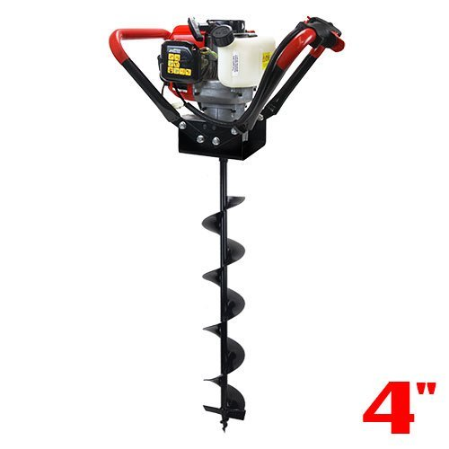 XtremepowerUS 1-Person Post Hole Digger V-Type 55CC 2 Stroke Gas One Man Auger EPA Motor Digger + 4