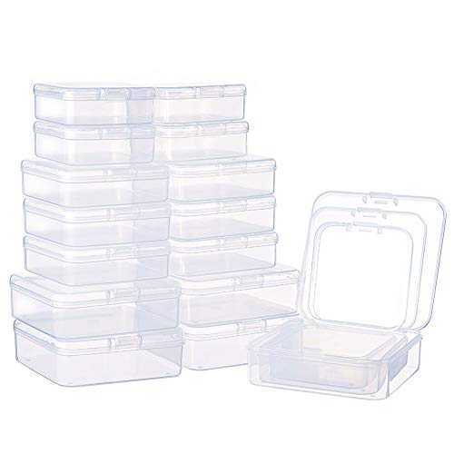 BENECREAT 27 Pack Mixed Size Rectangle Mini Clear Plastic Bead Storage Containers Box Case with lid for Items,Pills,Herbs,Tiny Bead,Jewerlry Findings, and Other Small Items by BENECREAT