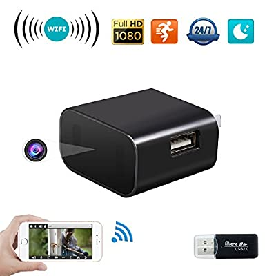 Ultra HD 4K Spy Camera Adapters, Night Vision 16.4 ft, WiFi Charger, Wireless Surveillance Mini Hidden Camera, USB Wall Charger Cam Plug Android/iOS, Real Time Motion Detection Camera, Alarm Nanny Cam from YAOAWE