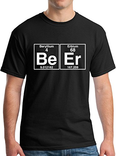 The Element of Beer College Science Periodic Table Funny Drinking T-Shirt white -