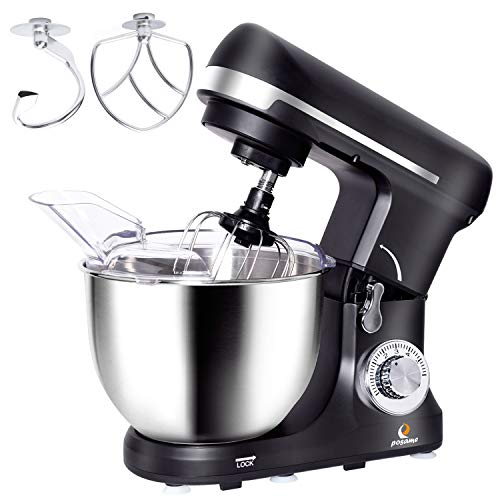 Stand Mixer,Posame Dough Mixer Cake/Bread Kneading Machine,Professional Kitchen Electric Mixer Tilt-Head with 5 Quarts Stainless Steel Bowl,Dough Hook,Whisk,Beater,Pouring Shield,500-Watt,Black for $<!--$105.99-->