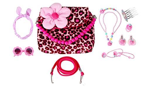 WODISON Little Girls Dress Up Flower Plush Purses Handbag Set Kids Toddler Crossbody Bag with Accessory