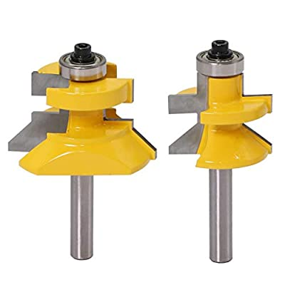 2 Pieces Tongue & Groove Flooring Router Bits Set, 8mm Shank C3 Tungsten Carbide V-Notch Profile Milling Cutter, Woodworking Slotting Tool with Bearing