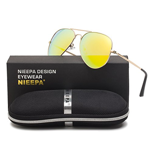 Aviator Polarized Sunglasses Classic Metal Frame TAC Lenses Driving Sun Glasses Retro Mens Womens Eyewear UV400 Protection Gold Lens/Gold Double Frame