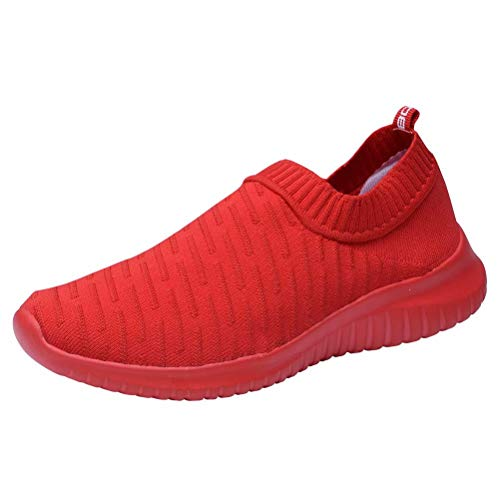 konhill Women's Athletic Walking Shoes - Breathable Casual Tennis Slip on Sneakers 11 US All Red,43