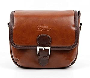 Small Brown PU Leather Satchel Carry Bag with Customisable Inserts for the PowerLead Gapo G055 - by DURAGADGET