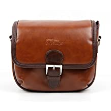Small Brown PU Leather Satchel Carry Bag with Customisable Inserts for the Eken H9 - by DURAGADGET