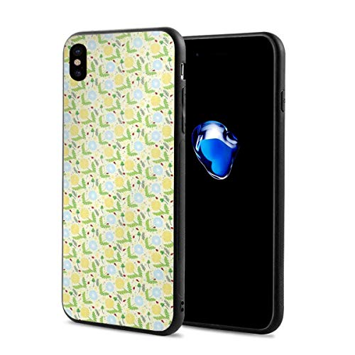 Phone Case Cover Compatible with iPhone X XS,Composition of Blowballs Ladybugs and Leaves Colorful Lively Spring Season Nature,Compatible with iPhone X/XS 5.8