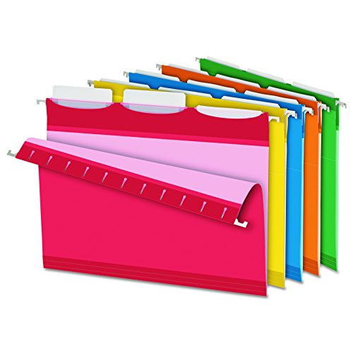 Pendaflex Ready-Tab Reinforced Hanging File Folders, Letter Size, 3 Tab, Assorted Colors, 25/BX (42621) ()