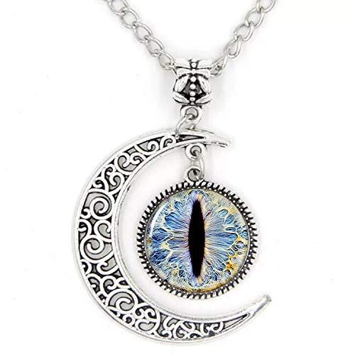 Dragon Eye Necklace Crescent Moon Glass Cabochon Pendant Necklace Eyes Jewelry Women Gift ()