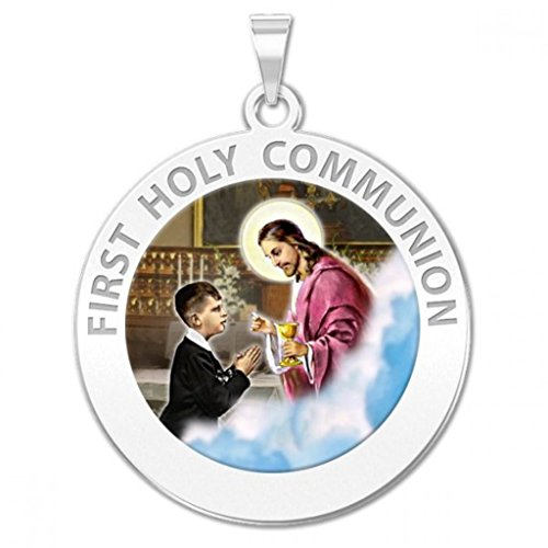 First Holy Communion Religious Medal (for a Boy) Color - 3/4 Inch Size of a Nickel -Sterling Silver (1st Communion Religious Pendant)