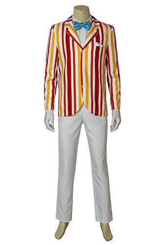 Halloween Bert Classic Movie Cosplay Costume Vertical Stripe Suit Full Set Uniform XL ()