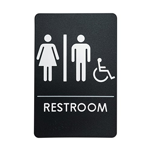 Rock Ridge Unisex Restroom Sign Black/White - ADA Compliant