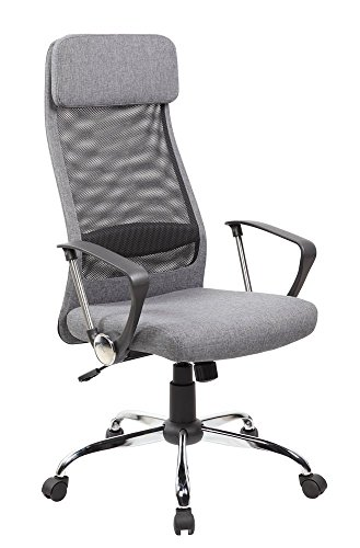 Anji High Back Ergonomic Mesh Office Chair with Padded Fabric Ajustable Seat, Tilt Tension, Headrest, Arms, Computer Desk Chair, Grey by Anji Modern Furniture