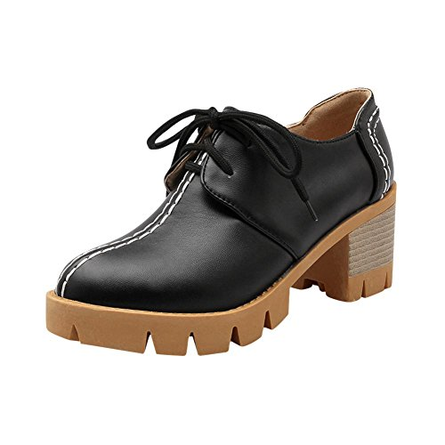Schouder Dames Lace Up Mode Sweet Cute Comfort Chunky Mid Heel Oxfords Schoenen Zwart