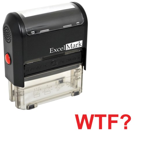 Self-Inking Novelty Message Stamp - WTF? - Red Ink ()
