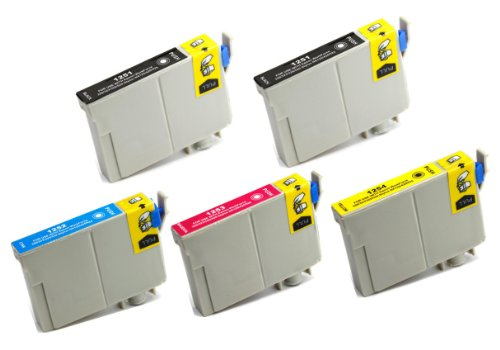5 Pack Elite Supplies ® Remanufactured Inkjet Cartridge Replacement for #125 T125 T1251, Epson T125120 T125220 T125320 T125420 Works Epson Stylus NX125, Stylus NX127, Stylus NX130, Stylus NX230, Stylus NX420, Stylus NX530, Stylus NX625, WorkForce 320, Wo