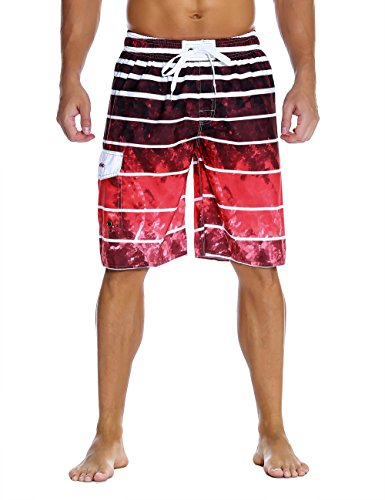 Trunks Red Swim Mens (Nonwe Men's Beachwear Quick Dry Holiday Drawstring Striped Swim Trunks Red Pattern 32)