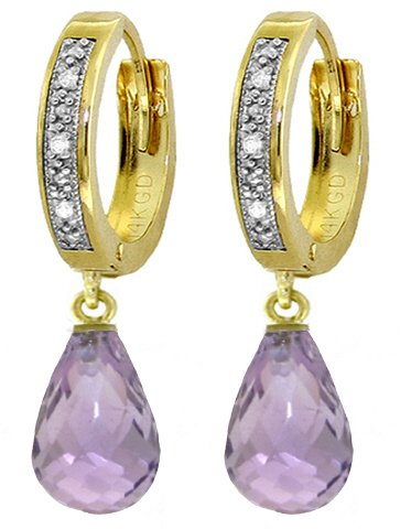 Gold Amethyst Diamond Earrings - 8