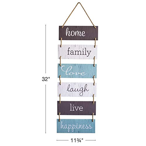 Excello Global Products Large Hanging Wall Sign: Rustic Wooden Decor (Home, Family, Love, Laugh, Live, Happiness… 3