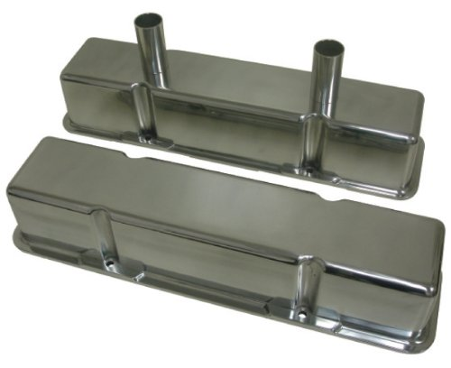 1958-86 Chevy Small Block 283-305-327-350-400 Tall Polished Aluminum Circle Track Racing Valve Covers - Smooth