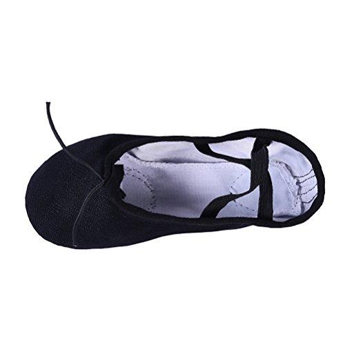 YYXR Ballett Hausschuhe Leinwand Tanz Gymnastik Yoga Schuhe Wohnungen Für Mädchen (Frauen / Großes Kind / Kleines Kind / Kleinkind) Schwarz