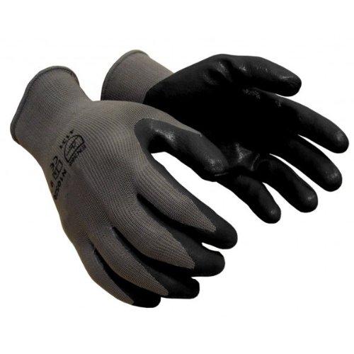 120 pairs, Nitrile Coated Work Gloves - Gray 13 Gauge Nylon, Black Nitrile Foam Palm (Medium)